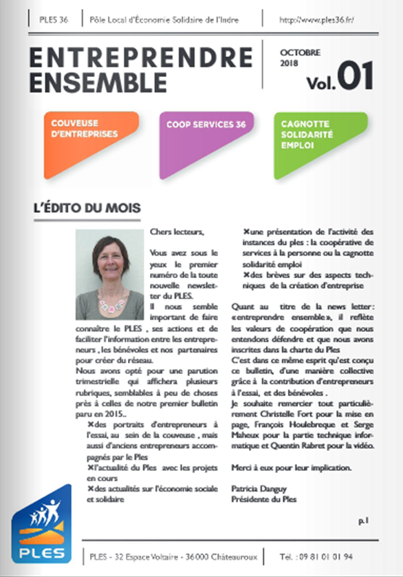 Entreprendre ensemble 01 : le nouveau bulletin trimestriel du PLES