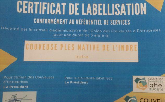 Certificat de labellisation de l'Union des Couveuses d'Entreprises